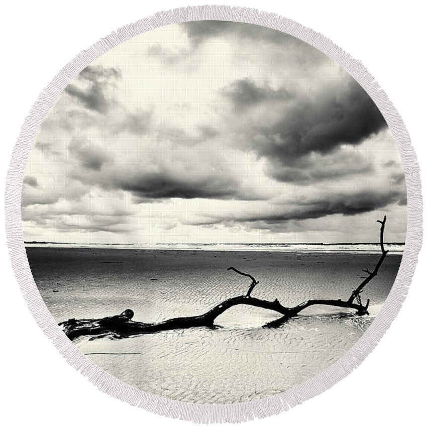 Landscape Round Beach Towel featuring the photograph Low Tide, Lindisfarne by Timothy Gent