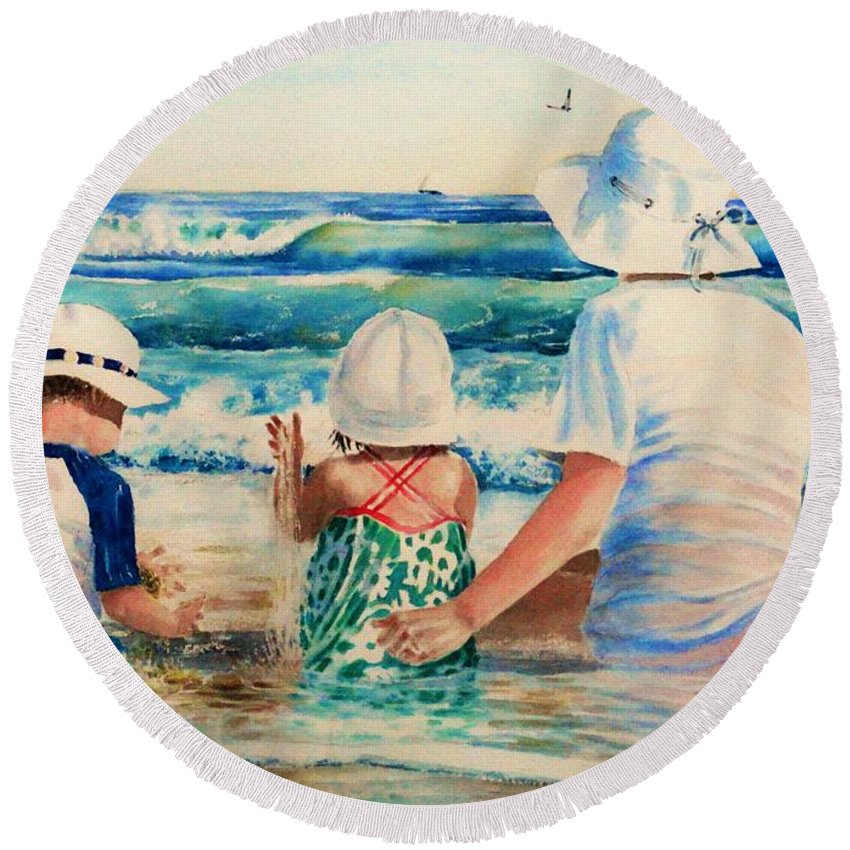 Beach Round Beach Towel featuring the painting Low Tide by Tom Harris
