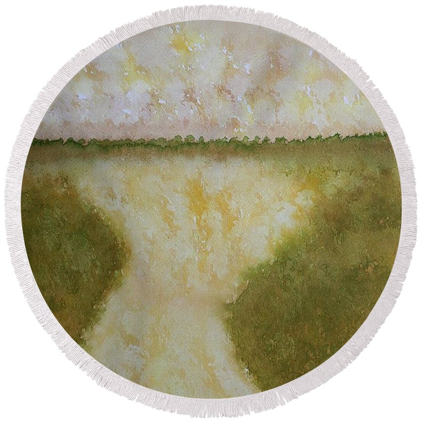 Lowcountry Round Beach Towel featuring the painting Lowcountry Marsh Original Painting by Sol Luckman