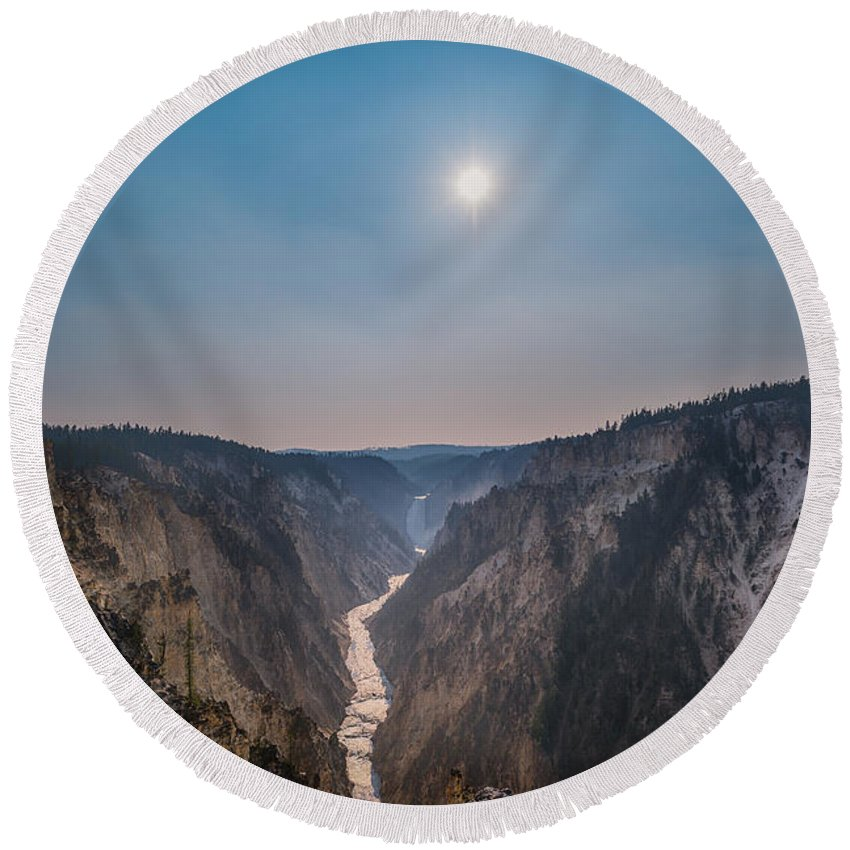 Yellowstone Round Beach Towel featuring the photograph Lower Falls At Artist Point by Michael Ver Sprill