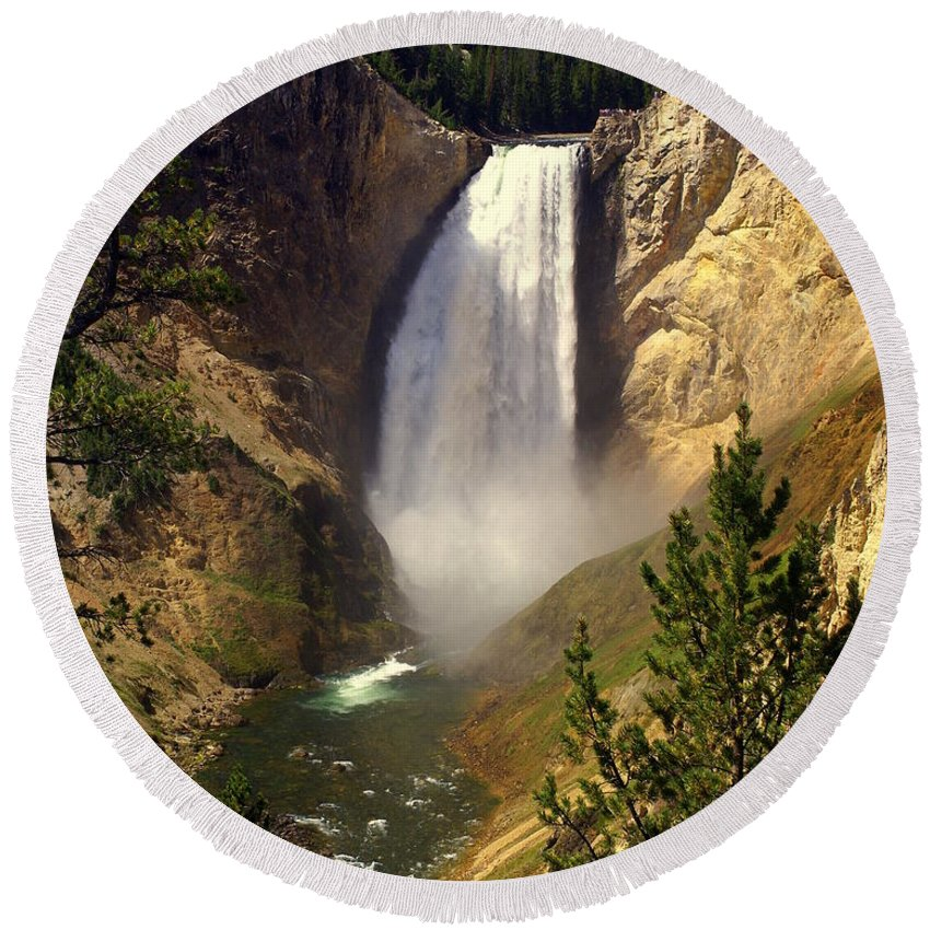 Waterfall Round Beach Towel featuring the photograph Lower Falls by Marty Koch