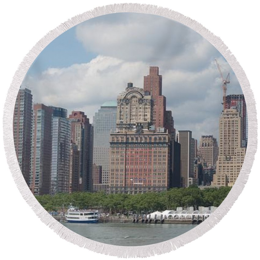 New York Round Beach Towel featuring the photograph Lower Manhattan Panorama by Thomas Marchessault