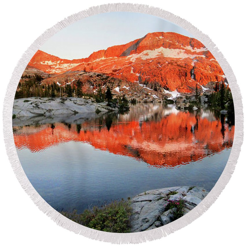 Sierra Round Beach Towel featuring the photograph Lower Ottoway Lake Sunset - Yosemite by Bruce Lemons