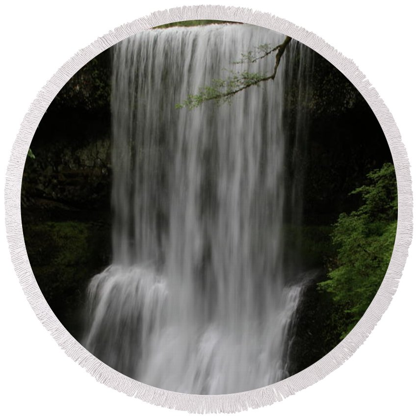 This Is Lower South Falls Located At Silver Falls State Park. The Park Is Located East Of Salem Round Beach Towel featuring the photograph Lower South Falls by Laddie Halupa
