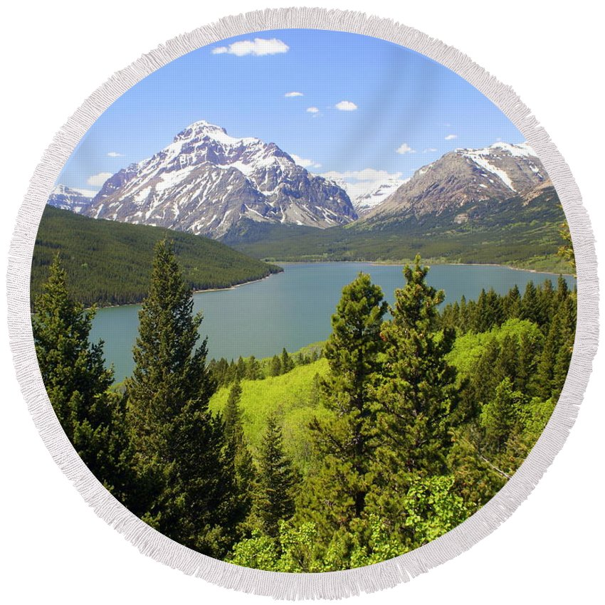 Two Medicine Lake Round Beach Towel featuring the photograph Lower Two Medicine Lake by Marty Koch