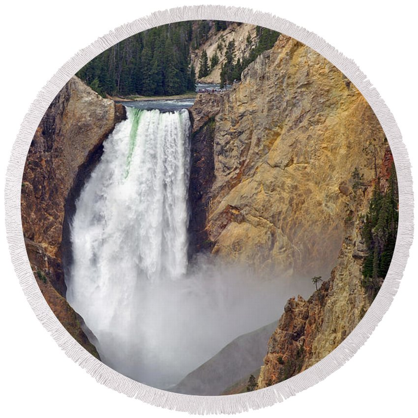 Lower Falls Round Beach Towel featuring the photograph Lower Yellowstone Falls by Ralf Broskvar