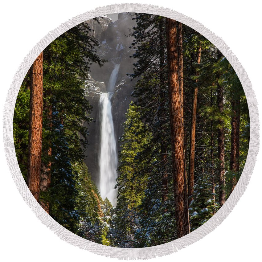 Yosemite Round Beach Towel featuring the photograph Lower Yosemite Falls by Anthony Bonafede