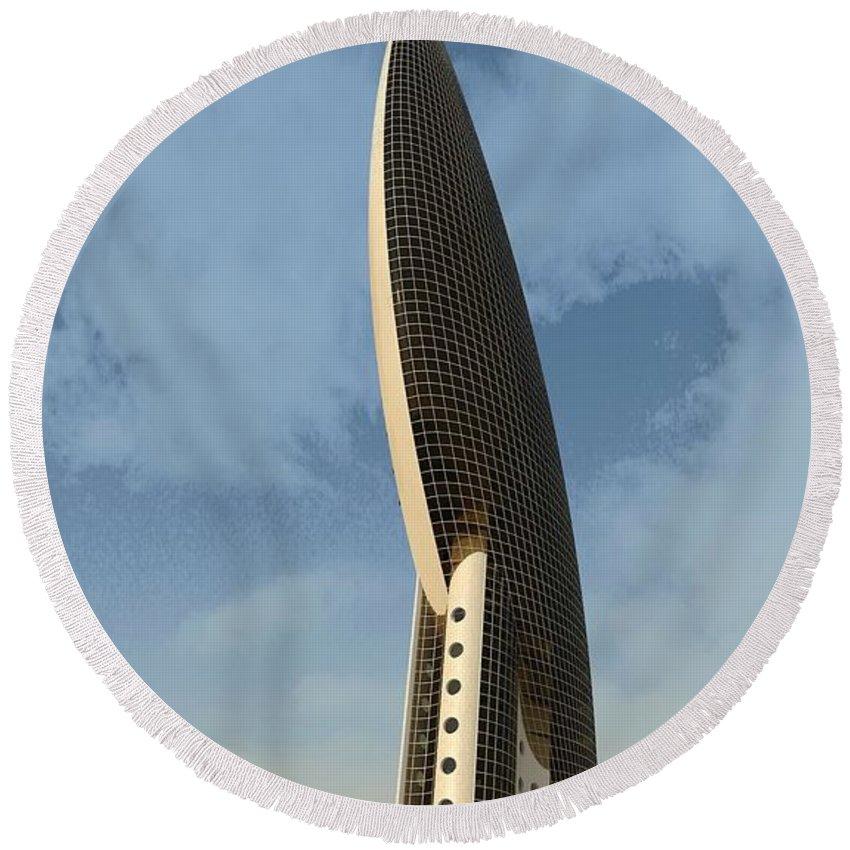 Skyscraper Round Beach Towel featuring the digital art Lozenge Building by Ron Bissett