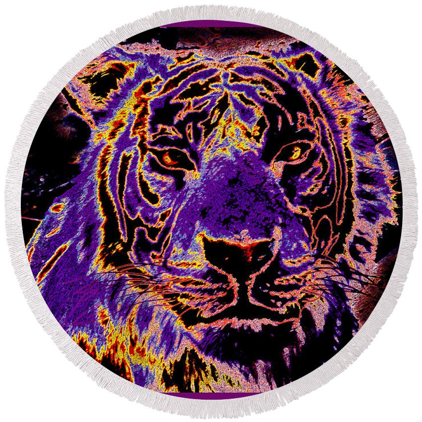 Lsu Football Tiger Night In Color Abstract Purple Gold Round Beach Towel featuring the painting Lsu Tiger by RJ Aguilar