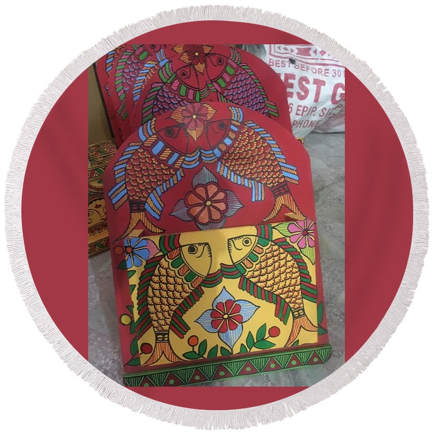 Fish And Flowers Round Beach Towel featuring the painting Ltr-#1 by Anamika Thakur