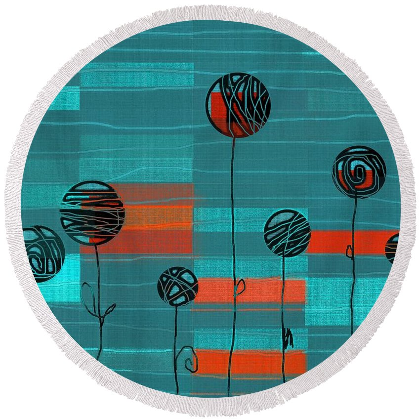 Blue Round Beach Towel featuring the digital art Lubi - S02-222b by Variance Collections