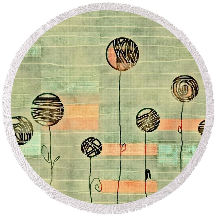 Green Round Beach Towel featuring the digital art Lubi - S02-34ab by Variance Collections