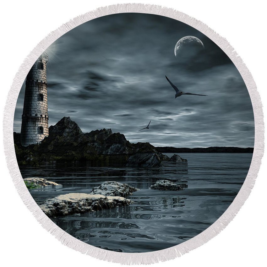 Lighthouse Round Beach Towel featuring the photograph Lucent Dimness by Lourry Legarde