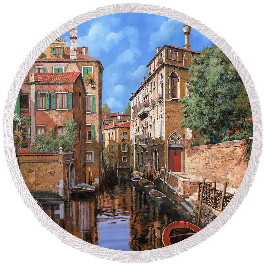 Venice Round Beach Towel featuring the painting Luci A Venezia by Guido Borelli