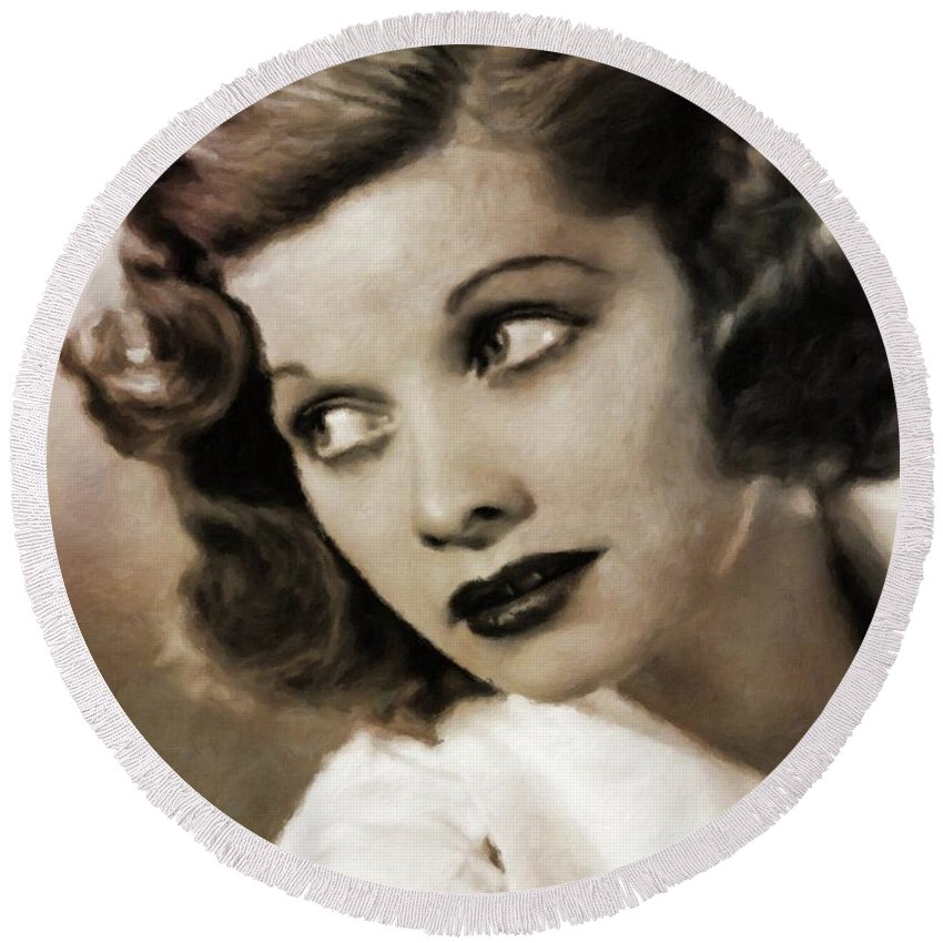 Hollywood Round Beach Towel featuring the painting Lucille Ball By Mary Bassett by Mary Bassett