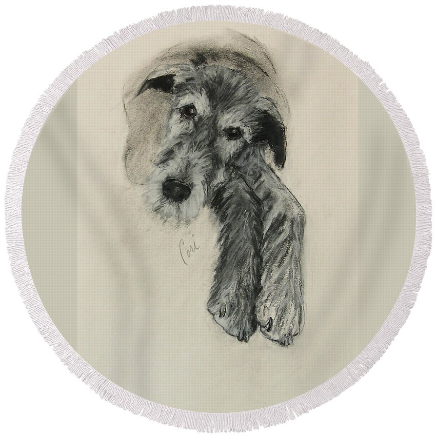 Irish Wolfhound Round Beach Towel featuring the drawing Luck Of The Irish by Cori Solomon
