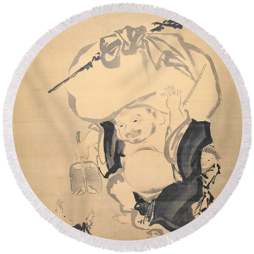 Love Round Beach Towel featuring the drawing Lucky Gods HOTEI by Keisuke Ueda