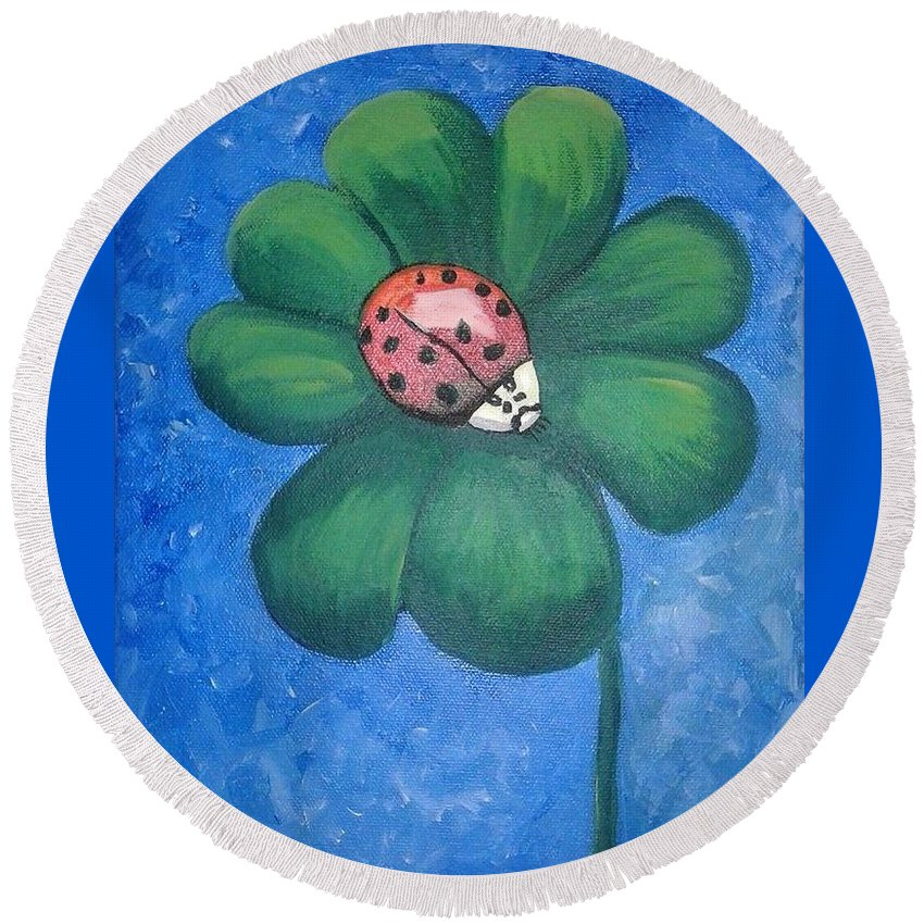 Ladybug Round Beach Towel featuring the painting Lucky Ladybug on 4-Leaf Clover by Monica Resinger