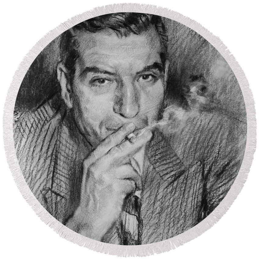 Lucky Luciano Round Beach Towel featuring the drawing Lucky Luciano by Ylli Haruni