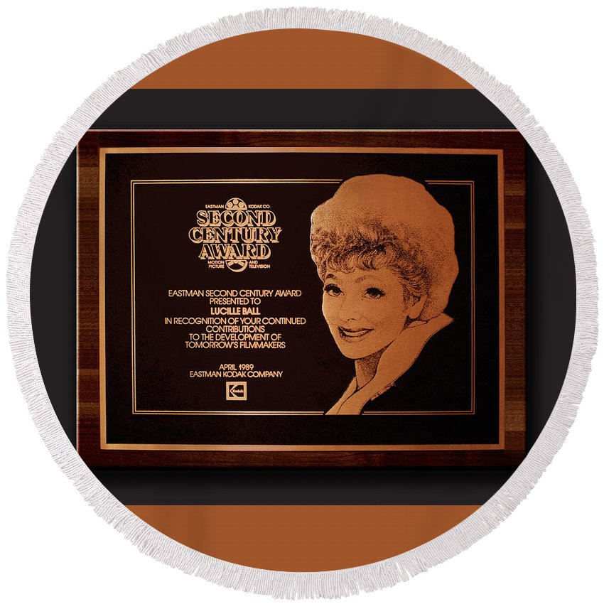 Lucille Ball Round Beach Towel featuring the drawing Lucy Sca Plaque by Gene Sherman