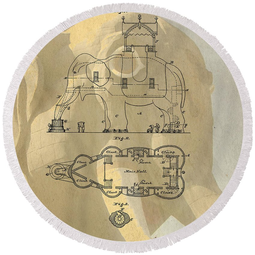 Lucy Round Beach Towel featuring the photograph Lucy The Elephant Building Patent by Edward Fielding