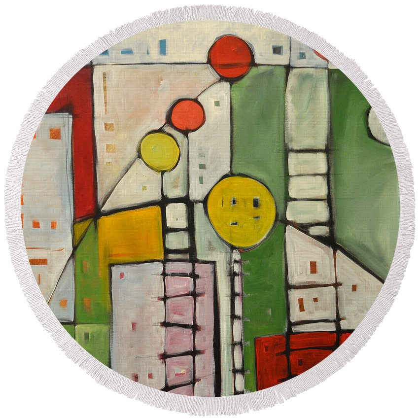 Abstract Round Beach Towel featuring the painting Lulu's Playground by Tim Nyberg