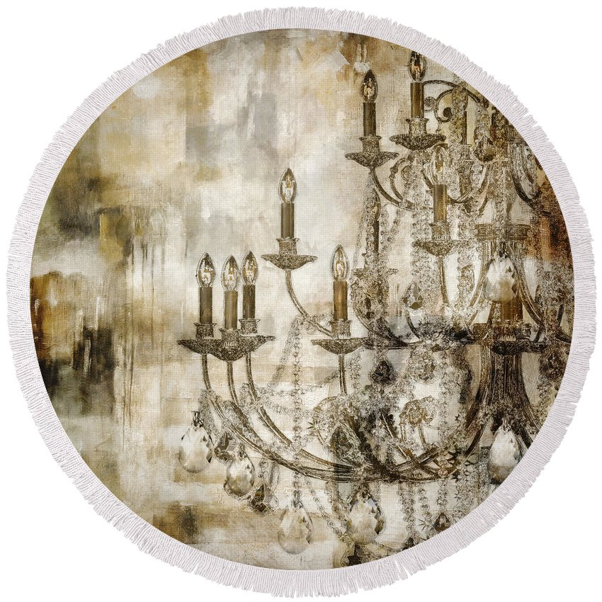Chandelier Painting Round Beach Towel featuring the painting Lumieres II by Mindy Sommers