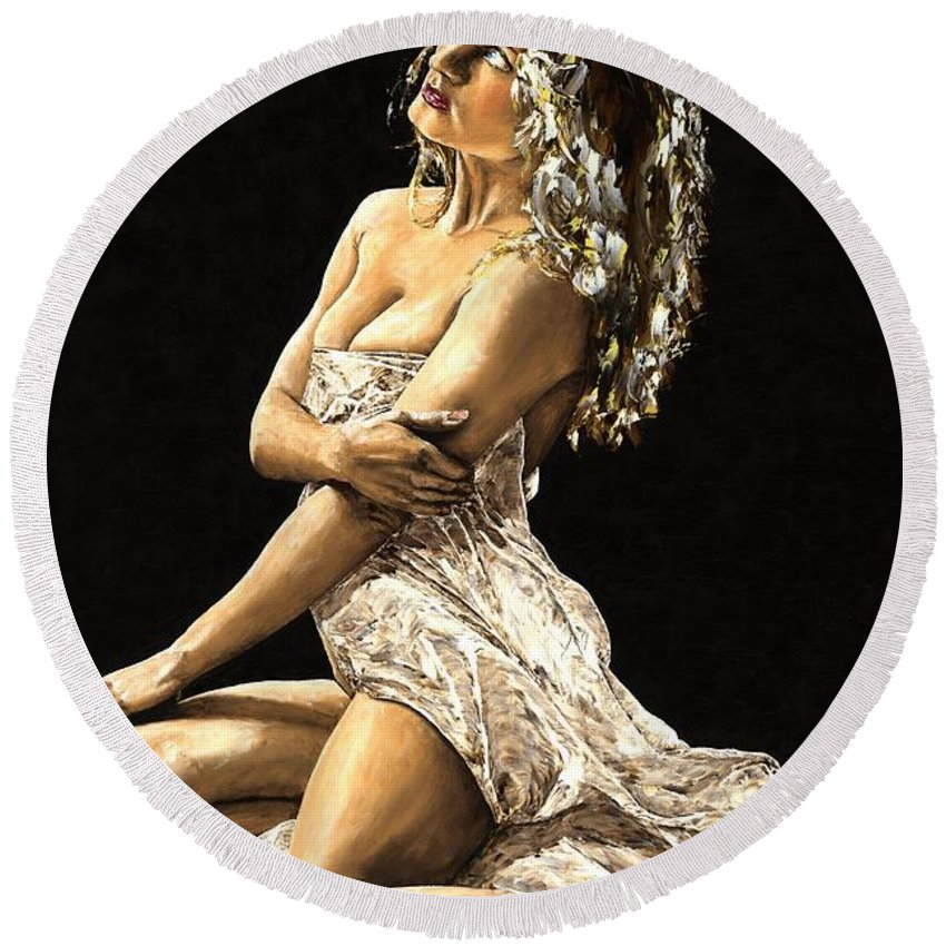 Nude Round Beach Towel featuring the painting Luminous by Richard Young