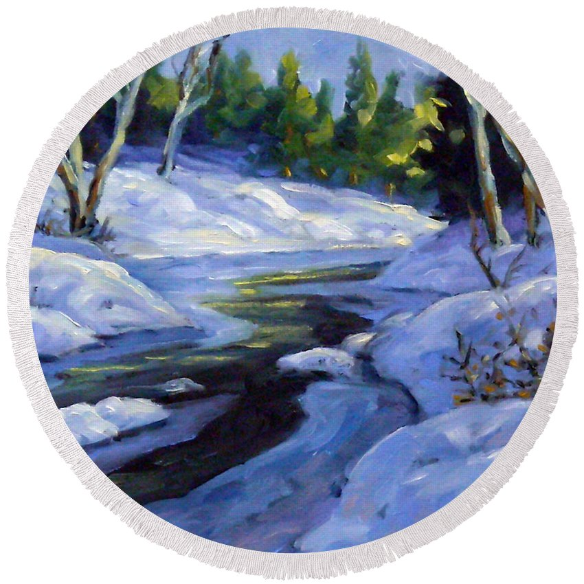 Art Round Beach Towel featuring the painting Luminous Snow by Richard T Pranke