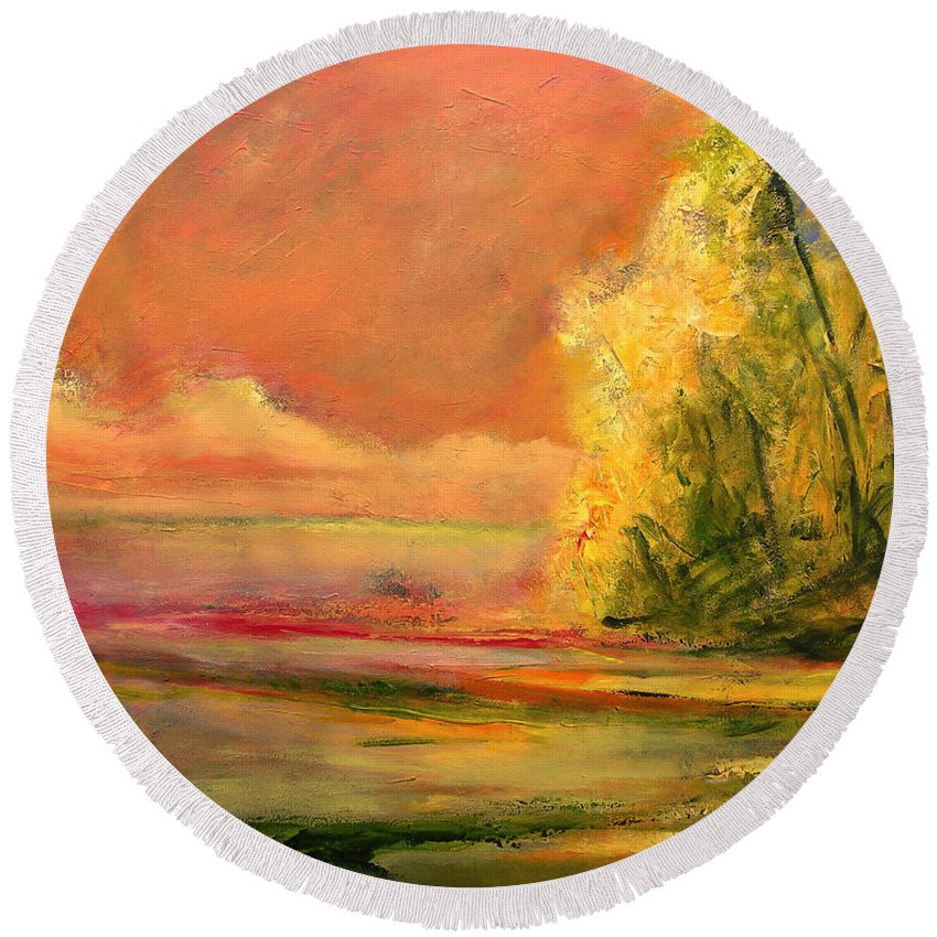 Large Canvas Reproductions Round Beach Towel featuring the painting Luminous Sunset 2-16-06 Julianne Felton by Julianne Felton