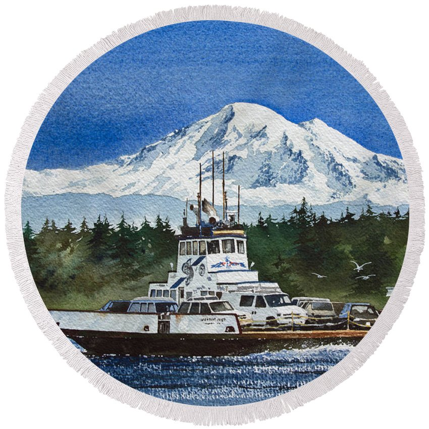 Ferry Boat Fine Art Print Round Beach Towel featuring the painting Lummi Island Ferry And Mt Baker by James Williamson