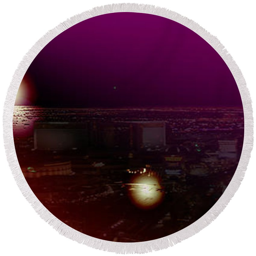 Las Vegas Strip Moon Stars Lunar Sky Planets Orbit Space Round Beach Towel featuring the photograph Luna Vegas by Andrea Lawrence