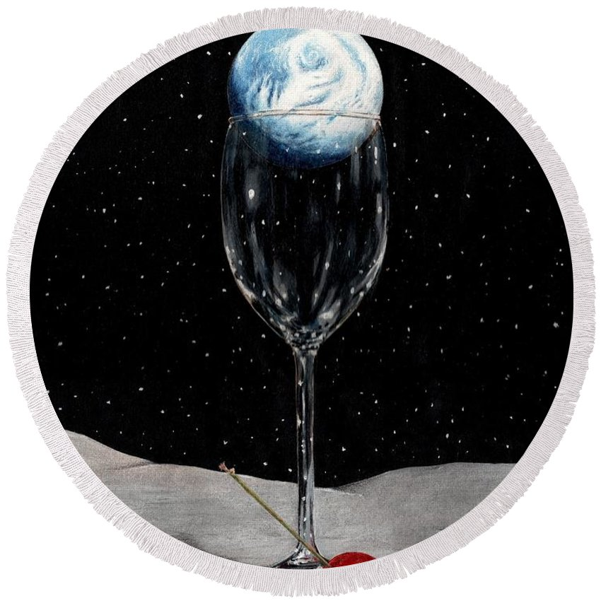 Moon Earth Space Cocktail Glass Art Bruce Lennon Art Round Beach Towel featuring the painting Lunar Cocktail by Bruce Lennon
