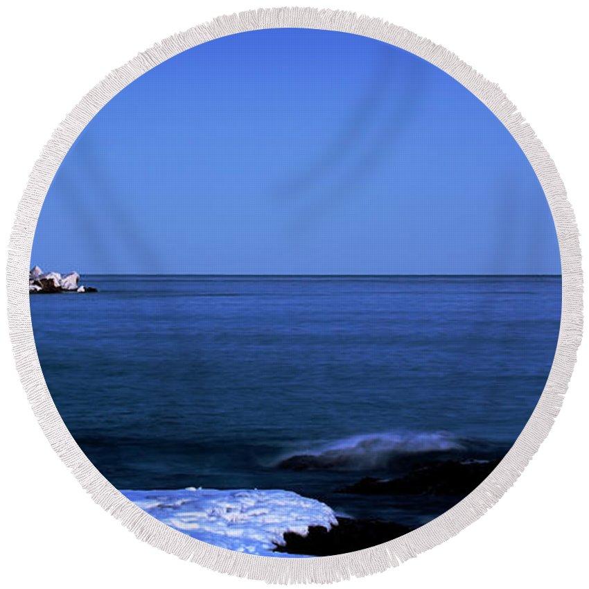 Minnesota Round Beach Towel featuring the photograph Lunar Eclipse At Split Rock by Rikk Flohr