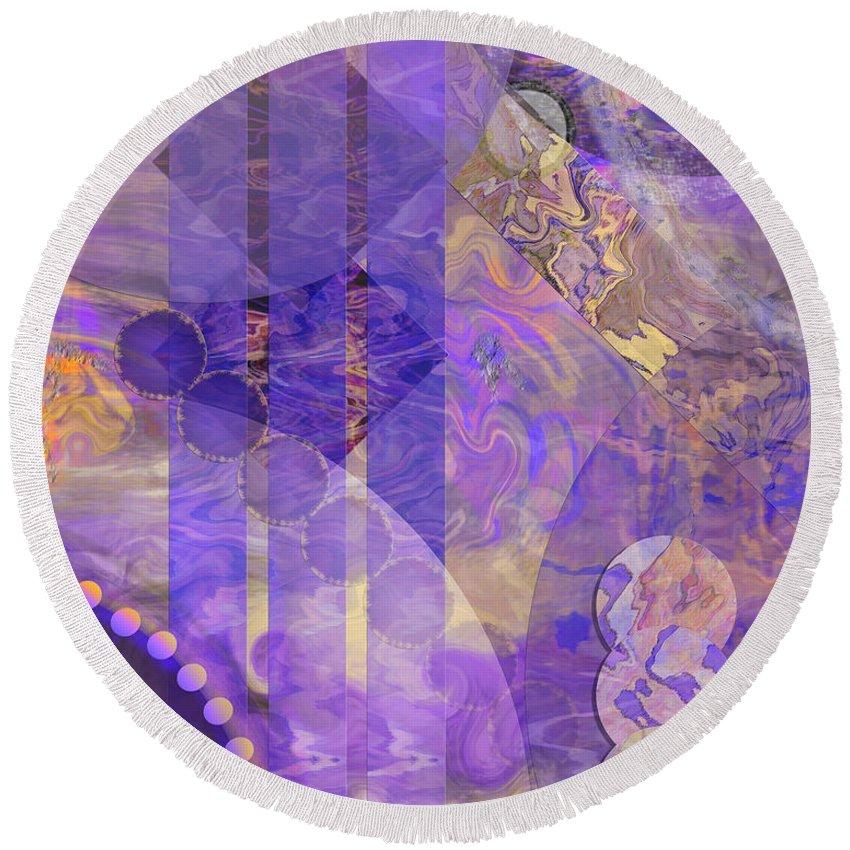 Lunar Impressions 2 Round Beach Towel featuring the digital art Lunar Impressions 2 by John Beck