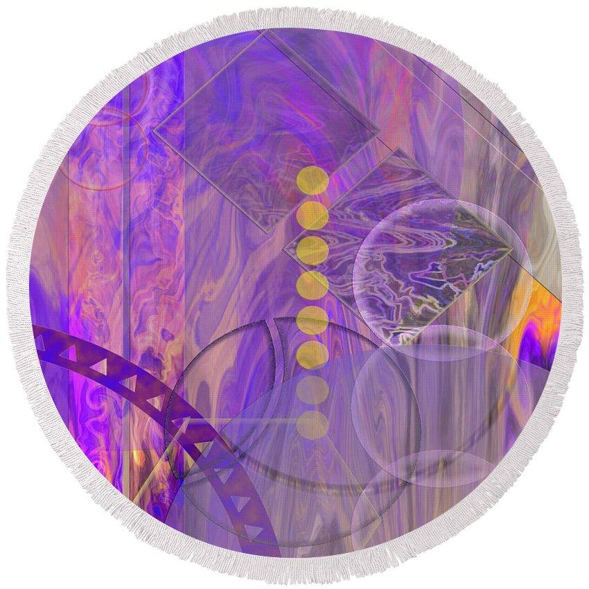 Lunar Impressions 3 Round Beach Towel featuring the digital art Lunar Impressions 3 by John Beck