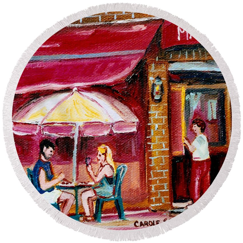 Mazurka Restaurant Round Beach Towel featuring the painting Lunch At The Mazurka by Carole Spandau