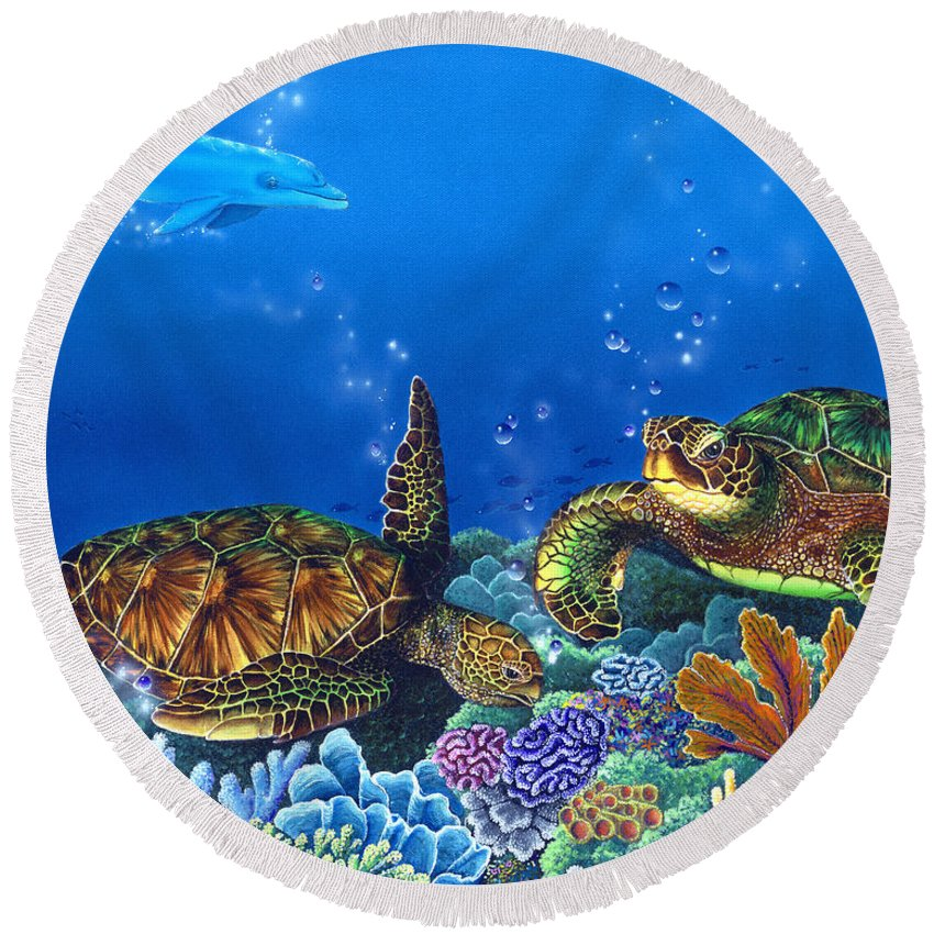 Turtles Round Beach Towel featuring the painting Lunchtime by Angie Hamlin