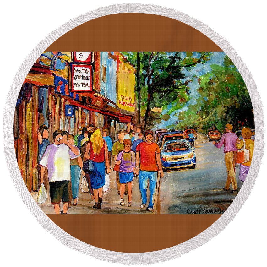 Montreal Streetscenes Round Beach Towel featuring the painting Lunchtime On Mainstreet by Carole Spandau