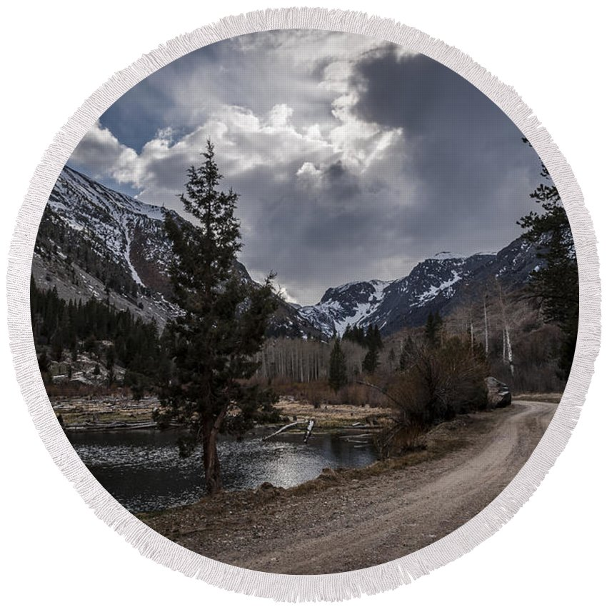 California Round Beach Towel featuring the photograph Lundy Lake Road by Cat Connor