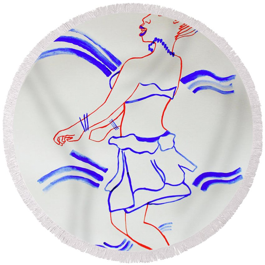 Jesus Round Beach Towel featuring the painting Luo Dance Acholi Tribe Uganda by Gloria Ssali