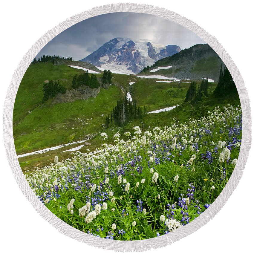 Rainier Round Beach Towel featuring the photograph Lupine Storm by Mike Dawson