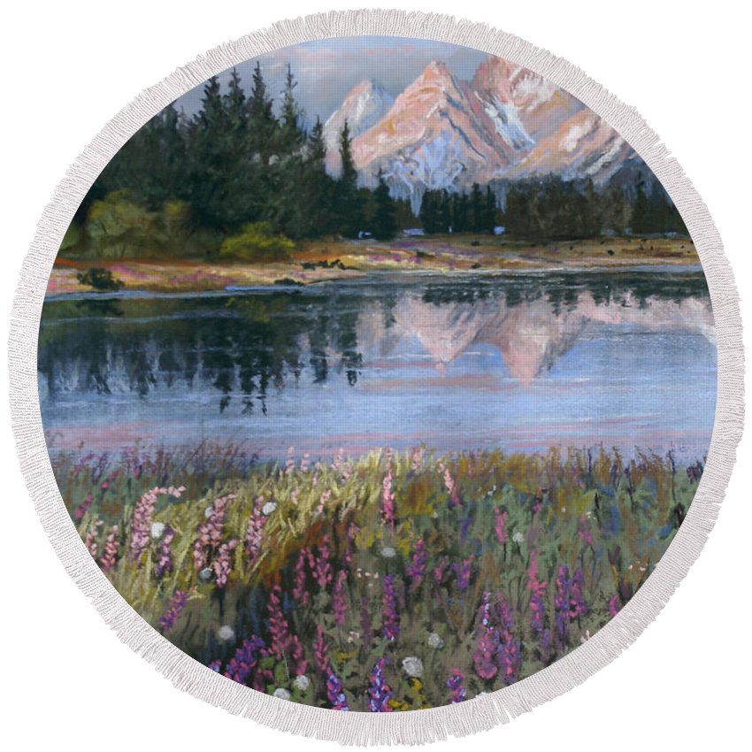 Grand Tetons Round Beach Towel featuring the painting Lupines At Pilgrim Creek by Heather Coen