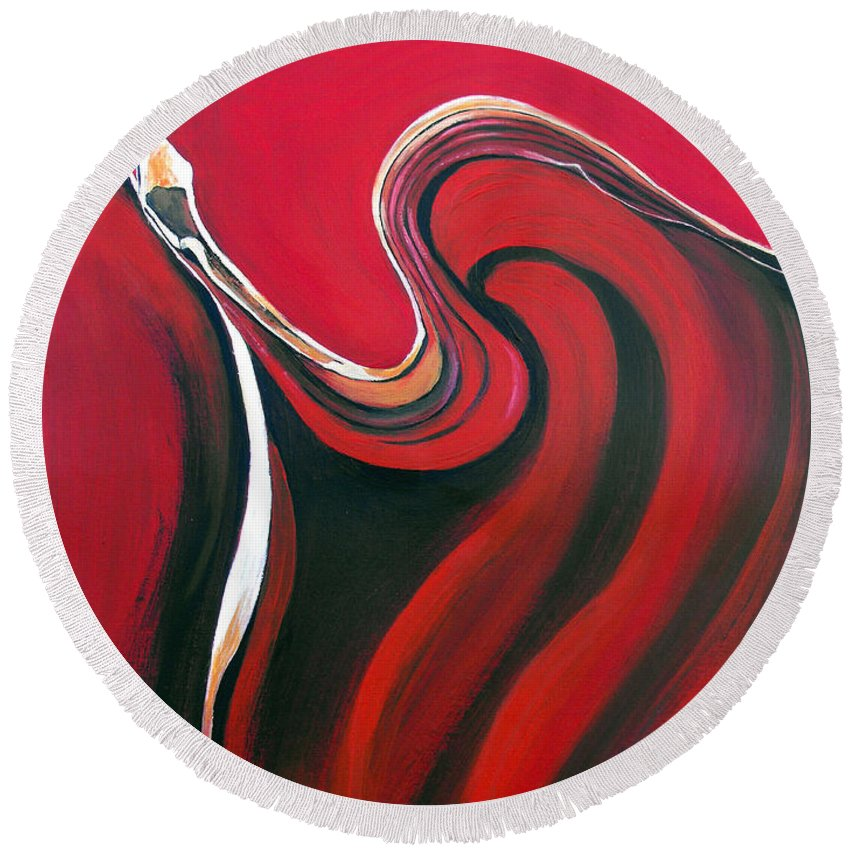 Abstract Round Beach Towel featuring the painting Luscious Red by Ruth Palmer