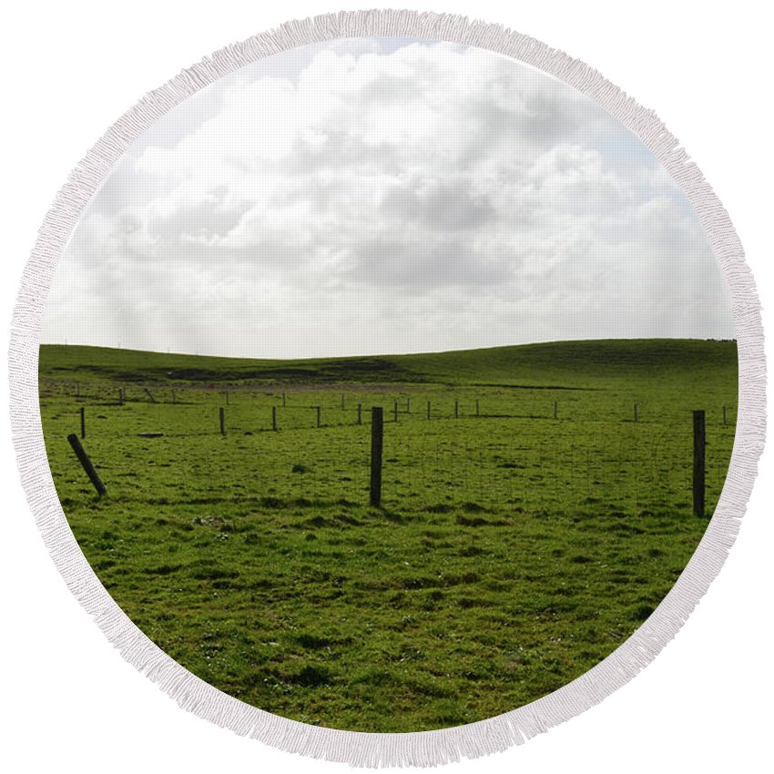 Cliffs-of-moher Round Beach Towel featuring the photograph Lush Green Grass On The Cliffs Of Moher by DejaVu Designs