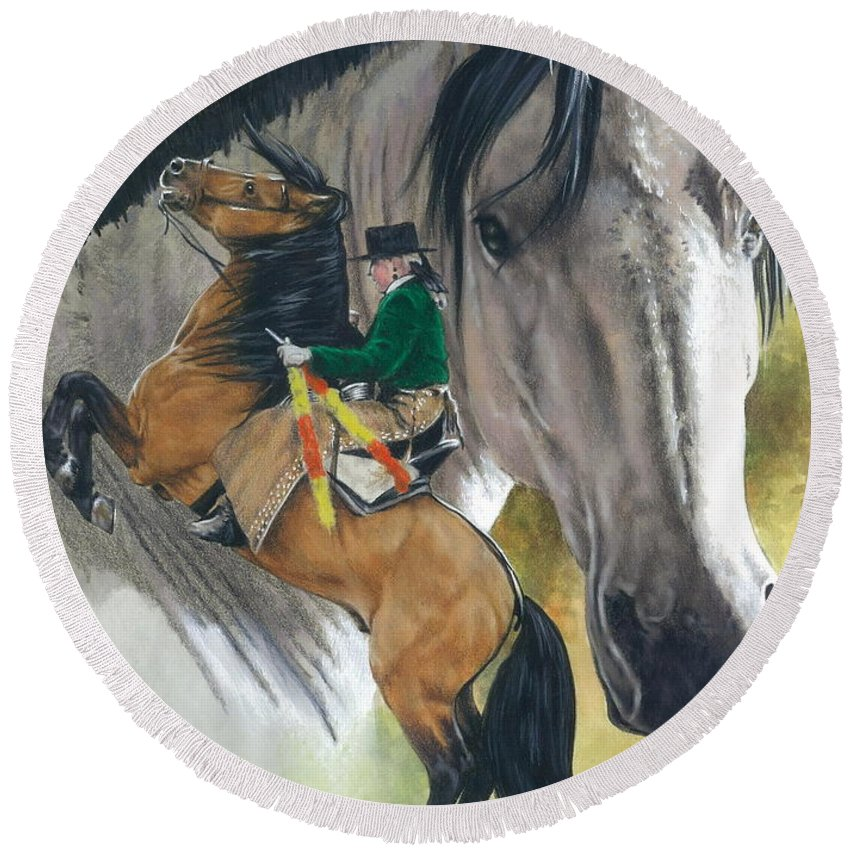 Hoof Stock Round Beach Towel featuring the mixed media Lusitano by Barbara Keith