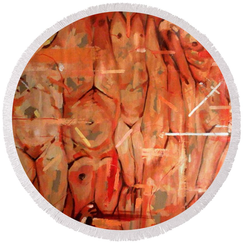 Women Round Beach Towel featuring the painting Lust II by Flamur Miftari