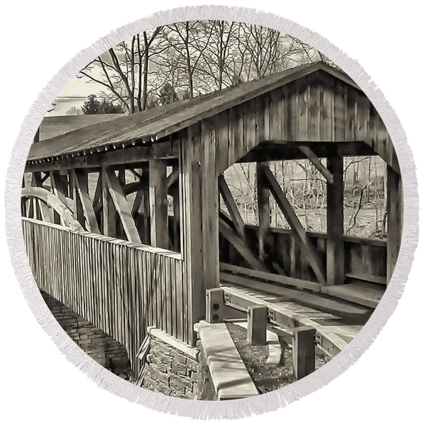 Landscape Round Beach Towel featuring the photograph Luther Mills Bridge In Monochrome by Lou Cardinale