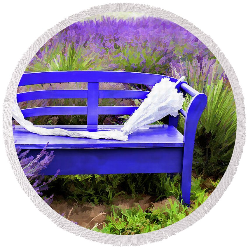 Lavender Round Beach Towel featuring the photograph Luvin Lavender Farm Bench by Dee Riley