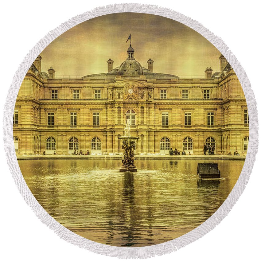 Joan Carroll Round Beach Towel featuring the photograph Luxembourg Palace Paris by Joan Carroll